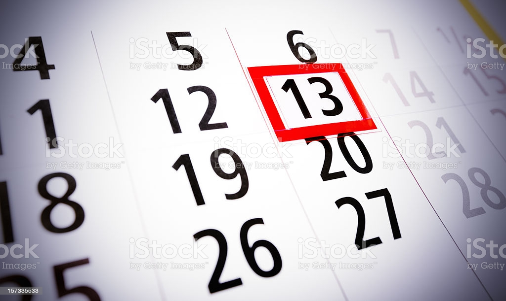 Friday the 13th. Calendar, bad luck, time, stress or fear concept.